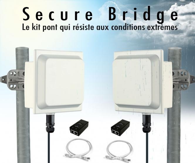 Kit pont secure bridge tr s haut d bit 5 ghz jusqu 39 6 km for Pont wifi exterieur