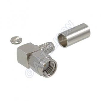 Connecteur à sertir RP-SMA-Plug coudé pour RG-58/CNT-195