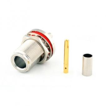 Connecteur à sertir N-Femelle châssis étanche pour câble type RG-58/CNT-195