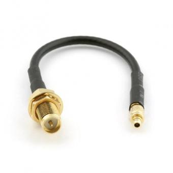 Cordon MMCX droit vers RP-SMA-Jack L 12cm câble type RG-174/RG-316 Ø 2.6mm