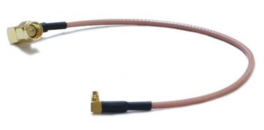 Cordon MMCX coudé vers SMA-Mâle coudé 20cm Ø 2.6mm