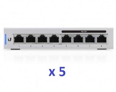 Switch réseau PoE Ubiquiti UniFi Switch US-8-60W 8 ports 60 Watts (Lot de 5)