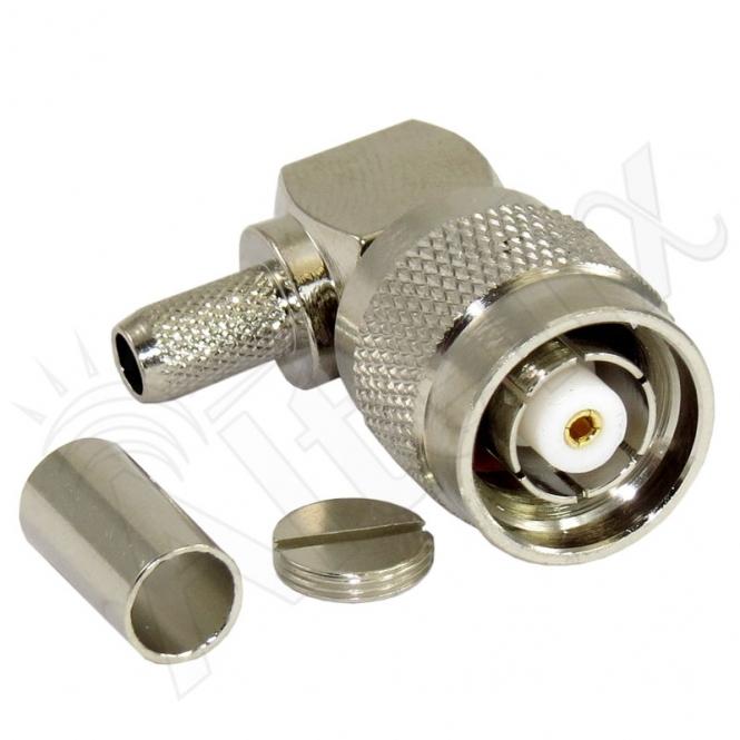 Connecteur à sertir RP-TNC Plug coudé 90° pour RG-58/CNT-195
