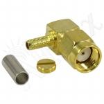 Connecteur à sertir RP-SMA-Plug Coudé 90° pour RG-174/RG-316